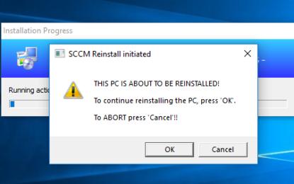 SCCM Task Sequence Reinstall User warning.