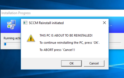 SCCM Task Sequence Reinstall User warning.